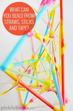 Straw and Stick Constructions - what can you build from straws, sticks and tape?