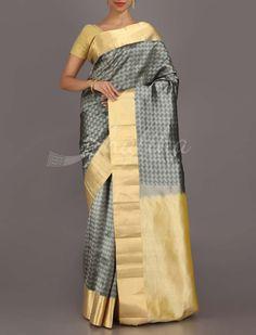 Sampada Brick-O-Block Contrast Pallu #CoimbatoreSilkSaree