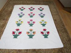 Vintage Handmade Carolina Lily Quilt Red by PrairieVintageFinds