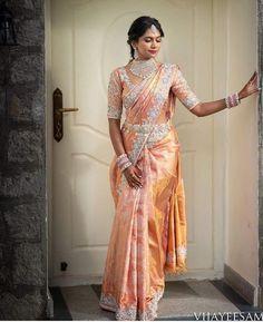 Latest Bridal Saree Designs are Pastel Shades of Kanjeevaram Bridal saree collection. Peach shade sarees, Lilac bridal sarees, Purple kanchipuram sarees, Turquoise Sarees, Mint shade saree designs and many more collection in handloom sarees Full Sleeves Blouse Designs, Netted Blouse Designs, Half Saree Designs, Bridal Blouse Designs, Saree Blouse Designs, Bridal Sarees South Indian, Bridal Silk Saree, Indian Bridal Outfits, Indian Bridal Fashion