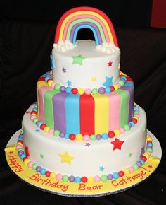 rainbow 3 tier birthday cake by Sarah's Sweet Treats, via Flickr