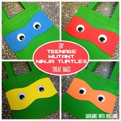 DIY Teenage Mutant Ninja Turtles Treat Bags! {Dollar Store Craft}