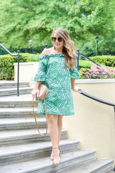 Palm Green Off the Shoulder Dress by NC fashion blogger Amy of Coffee Beans and Bobby Pins