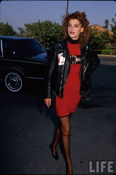 Comedienne Sandra Bernhard.1987 Sandra Bernhard, Life Pictures, Celebs, Celebrities, Style Icons, Leather Skirt, Photoshoot, Lady, Skirts
