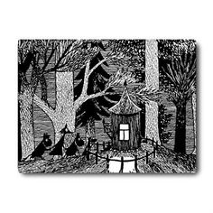 """If you like a rigid, thick tablemat the Cottage in the Wood tablemat is right for you. Backed with felt, it will stay in place on your table with minimal slipping and sliding. The Cottage in the Wood tablemat's black and white illustration is from Tove Jansson's book """"Moominsummer Madness"""",..."""