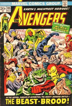 """OLD! Marvel's reprint comics featuring the X-Men at the time. In first-run 66, the cover menace; in the same month's """"Marvel's Greatest Comics,"""" the FF meet the Black Panther. NEW! T'Challa renews his ties with Earth's mightiest heroes; """"The Beast-Brood"""" renews theirs with Marvel heroes. They are AKA Savage Land Mutates, as they are artificially mutated by Magneto."""