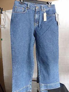 Jones Sport Sz 12 Cropped Denim Jeans 5 Pocket Dark Wash Stretch NWT