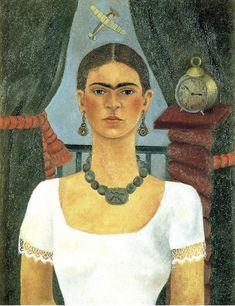 "Description of the painting by Frida Kahlo ""Self-portrait""Description picture - Kahlo Frida Frida Kahlo Exhibit, Frida Kahlo Artwork, Kahlo Paintings, Diego Rivera, Renaissance Fashion, Folk Fashion, Popular Art, Popular Culture, Frida And Diego"