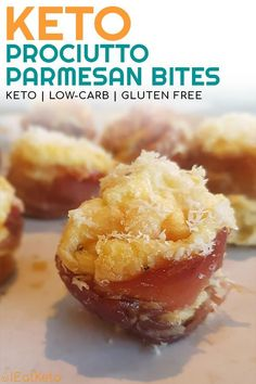 This prociutto and parmesan egg puff bites are an indulgent, tasty keto snack. These low carb canapes are great to have as keto party food or just for yourself! #keto #ketodiet #ketosis #ketogenicdiet #lchf #diet #lowcarb