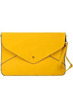 Retro Yellow Handbag. Description The envelope is a classic design. Can't be bettered. That's why it has gone unchanged for hundreds of years. One day, some clever person realised that the form was so useful it could have other uses. So they pushed the envelope in a new direction and created these simple, understated and stylish bags.  Fabric PU Washing Dry Clean. #Romwe