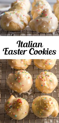 These Traditional Italian Easter Cookies (uncinetti) are made with a quick and easy dough, along with a simple lemon glaze to top these easy Easter Cookies. Fun to make and decorate with kids during spring! They're ready in less than 30 minutes and you only need a few pantry staples to whip up a batch! #eastercookies #Italiancookies Desserts Ostern, Köstliche Desserts, Holiday Desserts, Holiday Baking, Holiday Recipes, Delicious Desserts, Dessert Recipes, Recipes Dinner, Yummy Easter Recipes