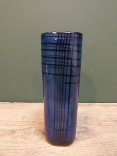 Vintage-1950s-Hadeland-Norway-Blue-Glass-Vase