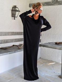 Warm Winter Off Black Angora Shoulder Cut Out Maxi Long Sleeve Dress / Fall Winter Kaftan / Asymmetric Plus Size Dress / Oversize Loose Dress / #35114