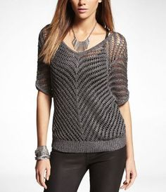 DOUBLE V-NECK MESH SWEATER at Express - Great for work or with a pair of jeans