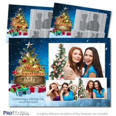 This 'Christmas in the Clouds' postcard sized photo booth template is a fun design that pulls the warmth and light of the Christmas tree in with presents and a starry night. This layout could work for both a formal or casual event. Christmas Photo Booth, Christmas Photos, Christmas Tree, Photobooth Layout, Photo Booth Design, Cloud 9, Photoshop Elements, Postcard Size, Layout Design
