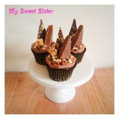 My Sweet Sister - chocolate overload cupcakes! Chocolate caramel bark, pink lady caramel fudge bar, peanut brittle, choc crispies, buttercream, Melbourne