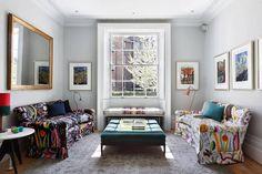 The Sitting Area Living Room Modern, Home Living Room, Living Room Decor, Best Interior, Modern Interior, Interior Design, Josef Franck, Floral Sofa, Interior Windows