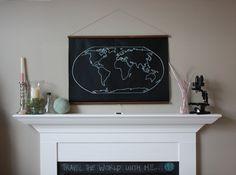 Chalkboard World Map - LARGER SIZE. $85.00, via Etsy.