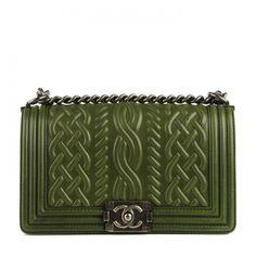 CHANEL Lambskin Medium Celtic Boy Flap Green ❤ liked on Polyvore featuring bags, handbags, chanel, shoulder handbags, square purse, green handbag, green purse and chanel purses