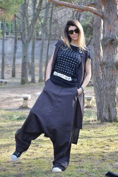 NEW Collection Loose Brown Linen Harem Pants with by SSDfashion