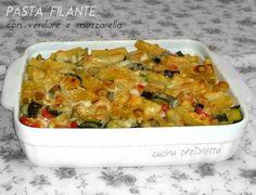 La pasta filante con verdure e mozzarella è un ricco primo piatto che può costituire anche un saporito piatto unico. Per preparare questa ricetta ho........