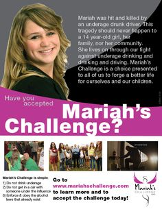 Flyer design for Mariah's Challenge. A nonprofit scholarship program fighting the epidemics of underage drinking and drinking and driving. www.mariahschallenge.com