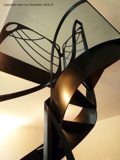 Escalier colimaçon Art Nouveau, dessiné et mis en forme par Jean Luc Chevallier pour La Stylique.