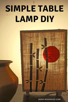 Wooden Lamp DIY with bamboo silhouette art - Alina Home Crafts, Diy Home Decor, Arts And Crafts, Paper Crafts, Diy Crafts, Wooden Table Lamps, Bamboo Art, Silhouette Art, Wooden Diy