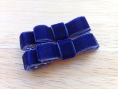Set of small navy blue velvet hair clips  by BrownEyedBowtique, $3.50