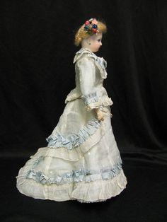 14″ Antique FRENCH FASHION Doll c1876 PERREAU Au Paradis des Enfants.  rare-dolls.com