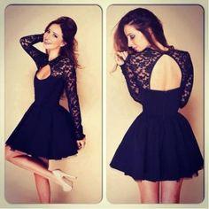 vestido de escote  A-Line de encaje mangas largas estilo sexy con hueco en espalda color negro