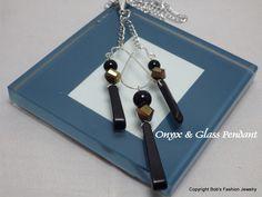 Onyx & Glass Bead Pendant by BobsFashionJewelry on Etsy