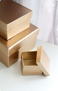 DIY Crafts | How to Make Decorative Gold Storage Boxes - from plain old cardboard boxes!