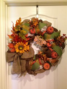 Fall wreath by Katy Faye's door decor! Check it out on esty and Facebook, for more designs and giveaways