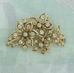 CORO 4 Flower Rhinestone Pin Brooch Vintage Jewelry – Sharon's Vintage Jewelry