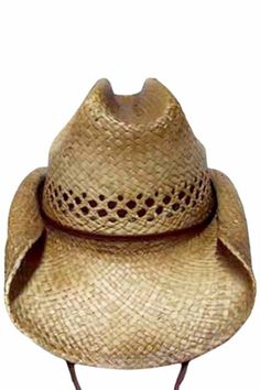 c48404ed25cd6 Vented Rocker Style Bended Brim Distressed Straw Cowboy Hat With Chin Cord