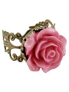 Pink Rose Retro Gold Ring 6.60