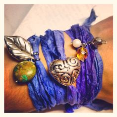 Recycled sari silk charm bracelet