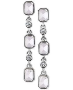 T Tahari Silver-Tone Crystal Drop Earrings  - Silver