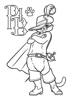 Funny Puss in boots coloring pages for kids, printable free