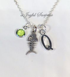 Fishbone Necklace, Fish Bone Jewelry, You choose Kitty Cat Charm, Gift for Teenage Girl Teenager Breeder initial birthstone Personalized  A personal favorite from my Etsy shop https://www.etsy.com/ca/listing/255972275/fishbone-necklace-fish-bone-jewelry-you