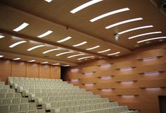 Acoustic treatment in the Binagadi Auditorium, Aserbaijan. Architect: Lider Monolit. Acoustical design by RPG Diffusor Systems.  Walls: Topakustik®Curved planks, MDF B1 eco melamine Beech. Ceilings:Topakustik™ Planktype 14/2 M planks finished in Maple 2106G