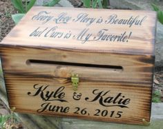 Rustic Wooden Card Box Rustic Wedding Card by dlightfuldesigns