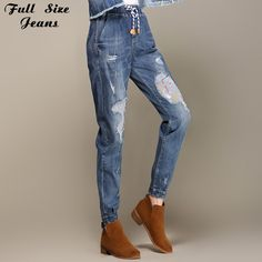 Boyfriend Elastic Waist Patchworked Destroyed Loose Harem Jeans | $ 85.94 | Item is FREE Shipping Worldwide! | Damialeon | Check out our website www.damialeon.com for the latest SS17 collections at the lowest prices than the high street | FREE Shipping Worldwide for all items! | Get it here https://www.damialeon.com/boyfriend-elastic-waist-patchworked-destroyed-loose-harem-jeans-tapered-jeans-vintage-plus-size-denim-trousers-4xl-6xl-7xl-2xl-s/ |      #damialeon #latest #trending #fashion…