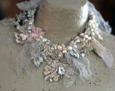 Lucia cuff bold cuff with antique laces bohemian by FleursBoheme
