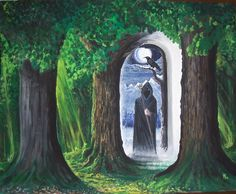 GRIMNI - this is the gate between worlds, The masked, hooded figure, is one of many disguises of the highest AESIR god ODIN. He frequently goes through the gate between worlds with one of his crows.