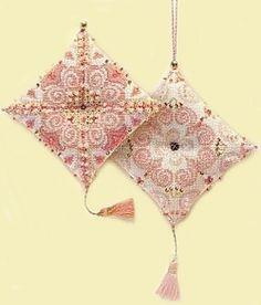 Elegant Bead Embellished Cross Stitch Pin Cushion Kit R1288