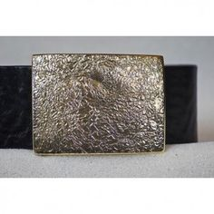 Abstract Brass Rectangle Buckle a Belt Handmade from Cellar Leather