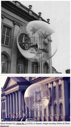 This contribution was produced to the Documenta 5 in Kassel: a transparent sphere with a diameter of 8 metres was placed in front of the main facade of the Friedericianum. Architecture Design, Temporary Architecture, Parasitic Architecture, Espace Design, Colani, Built Environment, Brutalist, Land Art, Public Art