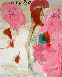 """Sexual Spring-like Winter"" is a large work created with layers of pink and resin by the art world's favorite enfant terrible, Julian Schnabel."